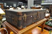 Sale 8515 - Lot 1048 - Large Travelling Trunk - some damage