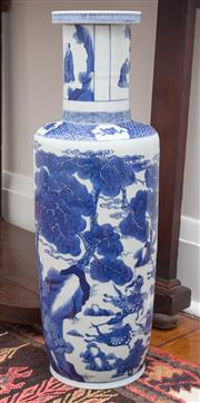 Sale 8530A - Lot 13 - A Qing style blue and white vase, decorated with war theme, Kangxi mark to the base, H 61cm