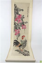 Sale 8563 - Lot 294 - Scroll Of Painted Rooster (Length 195cm)