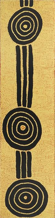 Sale 8862A - Lot 546 - Dinny Nolan Tjampitjinpa (c1922 - ) - Bush Onion Dreaming 200 x 50cm (stretched and ready to hang)