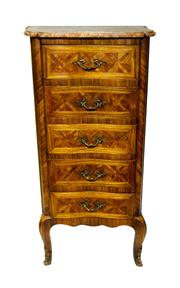 Sale 8828A - Lot 62 - An early 20th Century marquetry inlaid and marble top 5 drawer chest of drawers - 100 x 50 x 33 cm