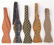 Sale 9080F - Lot 68 - A COLLECTION OF FIVE HERMES BOW TIES;  made from 100% silk in various fun prints with geometric design