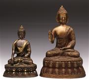 Sale 9078 - Lot 77 - A Cast Metal Figure of A Buddha (H 29cm) Together with A Smaller Example (Missing Hand, H 20cm)