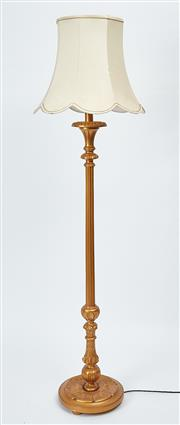 Sale 9080J - Lot 188 - An excellent quality vintage gilt standard lamp C: 1930s, the reeded column above a multi turned and carved circular base. Ht: 188c...