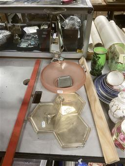 Sale 9101 - Lot 2350 - A Pink Frosted Glass Bowl Together with A Mirrored Candle Holder and Silver Plated Tray inc Australian Themed Tray