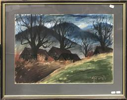 Sale 9106 - Lot 2065 - Artist Unknown Cottages and Barren Trees pastel on paper, 56 x 73cm, signed