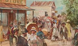 Sale 9133 - Lot 577 - Robert Todonai (1963 - ) A Scene of Yesteryear oil on board 12 x 20 cm (frame: 36 x 43 x 3 cm) signed lower right
