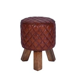 Sale 9140F - Lot 164 - A vintage high veg leather round stool with fruitwood legs. Dimensions: W35 x D46 x H35 cm