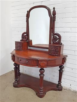Sale 9174 - Lot 1067 - Victorian Mahogany Demi-Lune Dressing Table, with carved supports, five trinket drawers & turned legs raised on a convex platform (h...