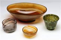 Sale 9144 - Lot 195 - Agate bowl (L: 16cm) together with three stone cups
