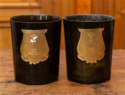 Sale 9160H - Lot 31 - A pair of olive green glass candle vases, Height 22cm