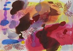 Sale 9174JM - Lot 5095 - SYLVIA SIEFF (1934 - ) Abstract with Leaves alcohol inks on canvas 57.5 x 39.5 cm (frame: 73 x 53 x 3 cm) signed lower right