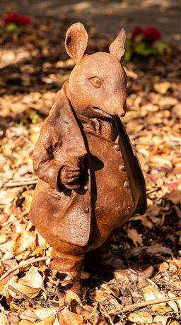 Sale 9191W - Lot 449 - A cast iron statue of Ratty  from wind in the Willows H.430mm