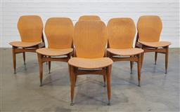 Sale 9183 - Lot 1031 - Set of 6 upholstered dining chairs (h:80 x w:43 x d:49cm)