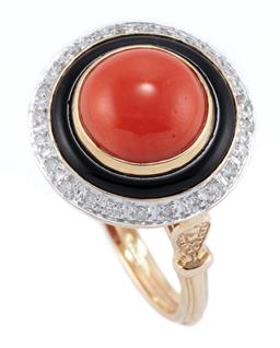 Sale 9221 - Lot 357 - A DECO STYLE CORAL DIAMOND AND ONYX RING; 9mm round cabochon coral to a circle of onyx and a surround of round brilliant cut diamond...