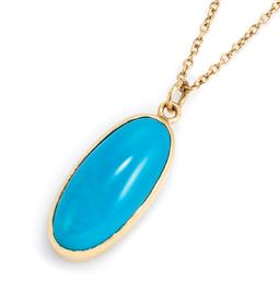 Sale 9221 - Lot 335 - A GOLD STONE SET PENDANT ON CHAIN; 16ct gold framed turquoise colour stone pendant (cracked), wt. 7g, on a 9ct gold cable link chain...