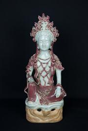 Sale 7968B - Lot 33 - A Chinese Copper Red and Celadon Glazed Figure of Guanyin