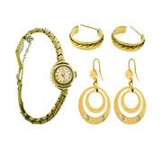 Sale 8253 - Lot 313 - TWO PAIRS OF EARRINGS AND A LADYS VINTAGE WATCH; hoop and drop earrings in 9ct (8.8g) and a 9ct watch on a metal bracelet, not work...