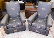 Sale 8310A - Lot 57 - A Pair of upholstered armchairs with lion and ball upholstery.