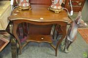 Sale 8331 - Lot 1085 - Shield Top Side Table Over Stretcher Base