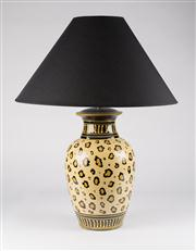 Sale 8350L - Lot 29 - A pair of Italian hand painted animal print urn lamps with black shades, H 65cm, RRP $ 1350