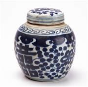 Sale 8575J - Lot 155 - A small Chinese blue and white ginger jar, height 11cm