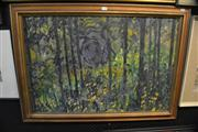Sale 8441T - Lot 2050 - Artist Unknown - Abstract Forest, oil on board, 60 x 90cm, signed lower left