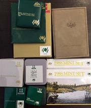 Sale 8465J - Lot 315 - 1988 PROOF AND UNCIRCULATED COINS;  2 x unc. sets, 1 x proof set, $5 proof coin, & 2 x $10 Silver coins (925), boxed proof & unc. in...