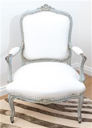 Sale 8471H - Lot 93 - A pair of French grey painted and ivory linen upholstered Louis XV elbow chairs of generous proportions with stud detail