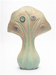 Sale 8855D - Lot 644 - A painted and carved timber organic form candelabrum with leaf and eyelet decoration in pastel colours, H45cm (slight split to rim)
