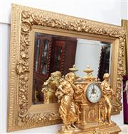 Sale 8804A - Lot 44 - A late Victorian/ Edwardian gilt gesso mirror with wide floral band, 81cm x 106cm
