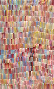 Sale 8808 - Lot 525 - Jeannie Mills Pwerle (1965 - ) - Bush Yam 158 x 96cm (stretched and ready to hang)