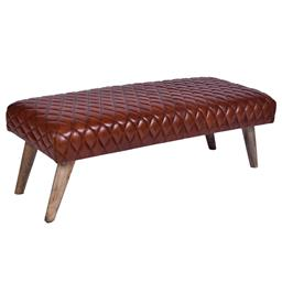 Sale 9140F - Lot 165 - A vintage high veg leather bench with fruitwood legs. Dimensions: W115 x D53 x H38 cm