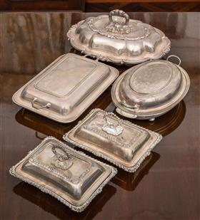Sale 9195H - Lot 46 - A group of five EPNS lidded serving tureens including Hardy Brothers, oval and rectangular examples