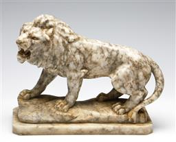 Sale 9255S - Lot 91 - A Carved marble figure of a lion. Height 24 x width 29 x 12cm.