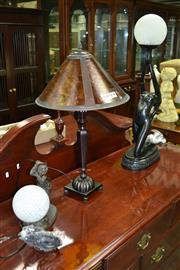 Sale 8093 - Lot 1492A - Figural Table Lamp & Small Figural Table Lamp w Glass Ball Shade Together w Another Table Lamp (3)