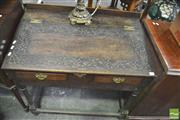 Sale 8345 - Lot 1040 - Possibly 17th Century Oak Writing Slope on Stand, the slope with later carving & fitted drawers (alterations)