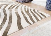 Sale 8471H - Lot 12 - A wool and art silk hand knotted contemporary rug in zebra stripe, 300 x 400cm, by