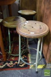 Sale 8532 - Lot 1452 - Three Rustic Timber Top Industrial Stools
