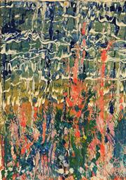 Sale 8682 - Lot 2045 - Jan Mitchell - Abstract Waterfall mixed media on paper, 66 x 46cm, signed and inscribed verso -