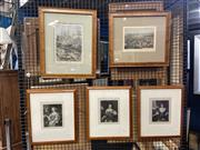 Sale 8910 - Lot 2025 - 5 Works: Group of Antique Engravings incl. hand-coloured View of Brisbane, Circular Quay, plus C19th Portraits (3)