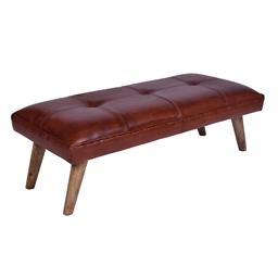 Sale 9140F - Lot 166 - A vintage high veg leather button top bench with fruitwood legs. Dimensions: W115 x D53 x H38 cm