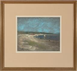 Sale 9190H - Lot 241 - Walter Withers Beach Scene,Pastel, 23cm x 30cm, SLL
