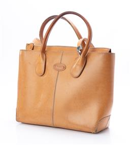 Sale 9095F - Lot 14 - A vintage Tods tan leather tote bag, with gold zip to top, height 27cm.