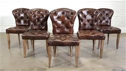 Sale 9255 - Lot 1384A - Set of Six Coco Republic Dining Chairs, fully upholstered in buttoned chocolate brown leather