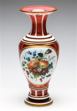 Sale 9255S - Lot 92 - A Bohemian ruby glass baluster vase. Height 35cm