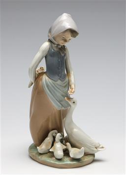 Sale 9253 - Lot 139 - A girl feeding geese Lladro figural group (H:24cm)