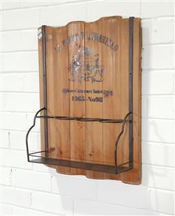 Sale 9255 - Lot 1027 - Timber wall mount wine holder (h:60 w:48cm)