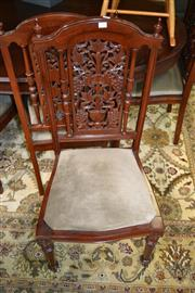 Sale 8115 - Lot 1205 - Set of 8 Pierced Back Mahogany Dining Chairs