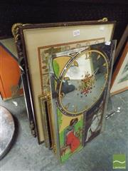 Sale 8474 - Lot 2024 - Group of Framed Prints with a Mirrored Clock & a Castlemaine Mirror (8)